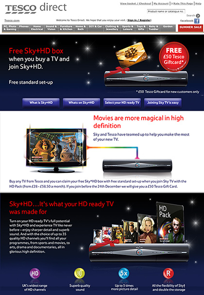 Tesco direct - Sky Promotion