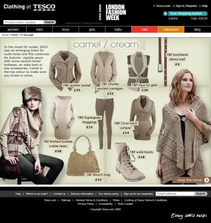 Clothing at Tesco - Trend page - Camel / cream