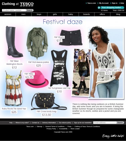 Clothing at Tesco - Trend page - Festival days
