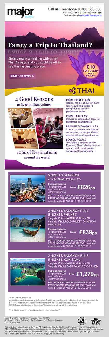 Major 4 Agents - Email - Thai Airlines promotion