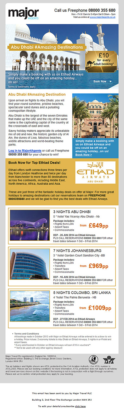 Major 4 Agents - Email - Etihad Airways promotion
