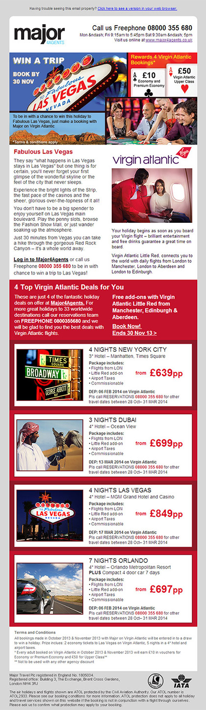 Major 4 Agents - Email - Virgin Atlantic promotion