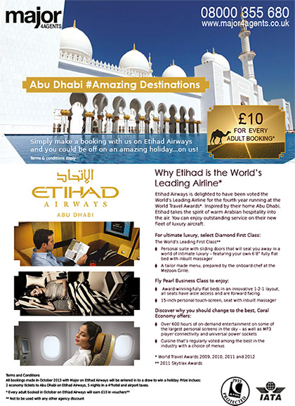 Major 4 Agents Flyer - Etihad Airways promotion (front)
