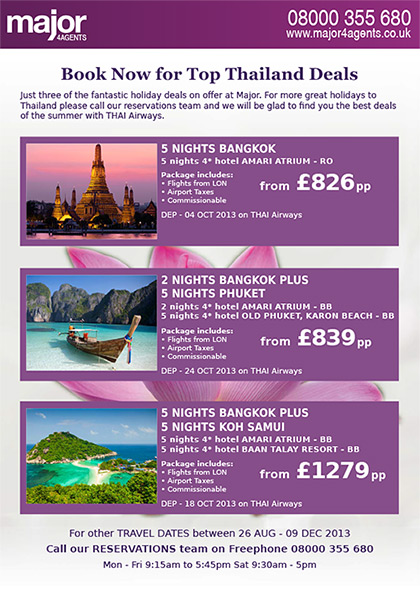 Major 4 Agents Flyer – Thai Airways promotion (back)