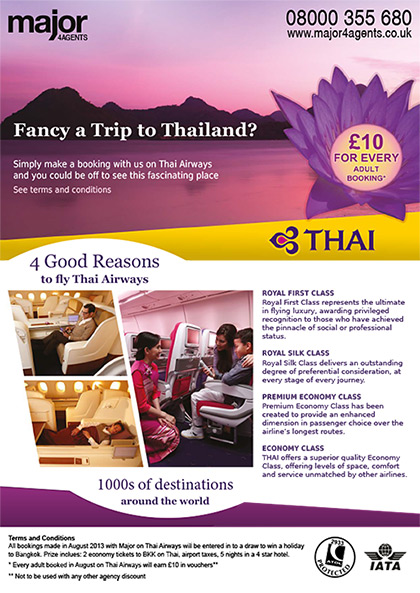 Major 4 Agents Flyer – Thai Airways promotion (front)