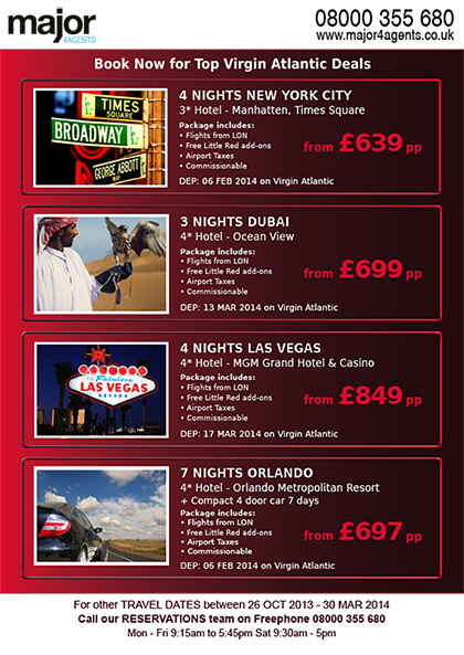 Major 4 Agents Flyer – Virgin Atlantic promotion (back)