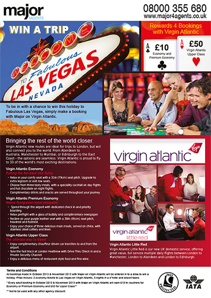 Major 4 Agents Flyer - Virgin Atlantic promotion (front)