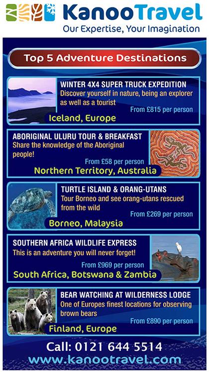 Kanoo Travel - Top 5 adventure destinations