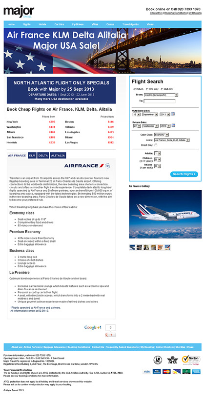 Major Travel - AF KL DL AZ Promo